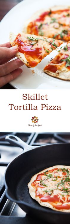Skillet Tortilla Pizza ~ Super easy individual pizzas made with flour tortillas, mozzarella cheese, tomato sauce and basil, in a cast iron skillet on the stovetop. ~ SimplyRecipes.com #Majestic #Pizza #BuffaloBucksCoffee