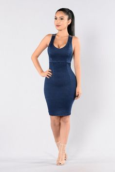 - Available in Dark - Denim Dress - Fitted - Knee Length - Sleeveless - V Neckline - V Strap Design - 77% Cotton 20% Polyester 3% Spandex