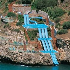 A hotel in Sicily called Cita Del Mare with a crazy terraced water slide down the side of a cliff