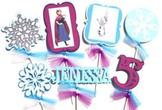Frozen Themed Centerpiece Stick Set of 7 Personalized With Name and Age - Also has a Glitter Snowflake on Etsy, $24.41 CAD
