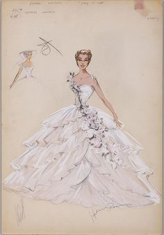Helen Rose costume sketch of Esther Williams for Easy to Love