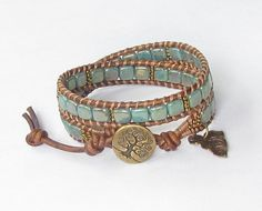 Reserved Listing for Claudia Turquoise Tree of Life leather wrap bracelet with CzechMates and Toho beads, vintaj leaf charm and brass button