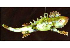 Garden Lizard Glass Christmas Ornament