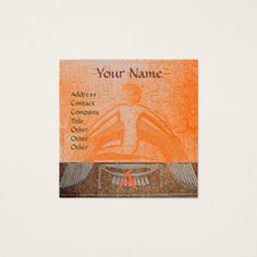 ISIS EGYPTIAN MONOGRAM  brown white yellow orange Square Business Card #goddes #egypt #egyptian #isis #beauty #myth