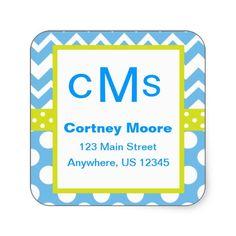 Blue and Lime Green Chevron Zigzag Polka Dot Monogram Address Stickers. www.gem-ann.com (Zazzle store)