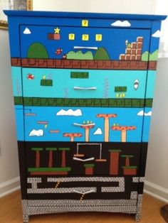 Mario Nintendo Furniture Dresser Video Game Cabinet Store Painted Heather Turner | eBay