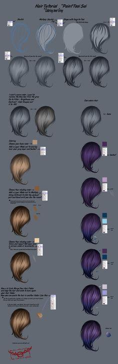 Hair Step By Step Tutorial (Paint Tool Sai) 2 by FleNB.deviantart.com on @DeviantArt