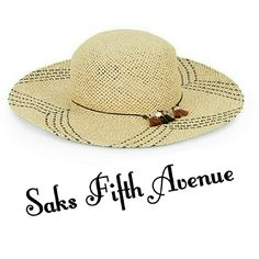 """Sale! """"Free Spirit"""" Boho Fringe Straw Hat Saks Brand NWT purchased from Saks Fifth Avenue!   Authentic """"Free Spirit"""" hat is the perfect accessory for your summer bohemian look! Lightweight straw hat features band with shiny charms & fringe, patterned 4"""" wide brim.  One size fits most. Color is """"Sandstone."""" Made of paper straw, spot clean.  NO TRADES. Saks Fifth Avenue  Accessories Hats"""