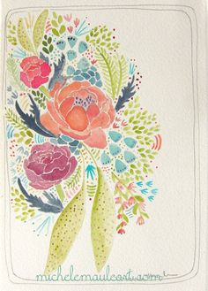 Ranunculus Flower Watercolor Painting by Michele Maule