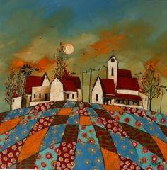 *Patchwork landscape* ~ by Glendine - Acrylic (Alice Art Gallery) ♥ Inspiration. Kitsch, South African Artists, Art Brut, Naive Art, Landscape Paintings, Landscapes, Painting Inspiration, Art And Illustration, Folk Art
