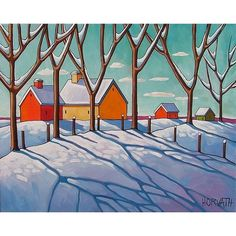 ORIGINAL Painting Folk Art Winter Snow Trees by SoloWorkStudio, $275.00