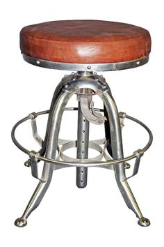 Toledo style reproduction stool with leather seat