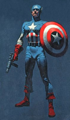 """Captain America (fictional hero). """"Captain America is not here to lead the country. I'm here to serve it. If I am a Captain, I'm a soldier. Not of any military branch but of the American people. Years ago, in a simpler time, this suit and this shield were created as a symbol to help make America the land it's suppose to be... To help it realize its destiny."""""""