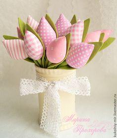 Купить Тюльпаны Тильда - розовый, тильда, тюльпаны, тюльпаны из ткани, текстильные цветы, тюльпаны тильда