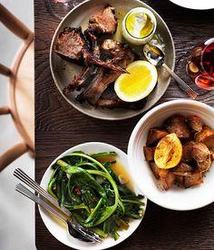 Australian Gourmet Traveller recipe for slow-roasted spiced lamb.