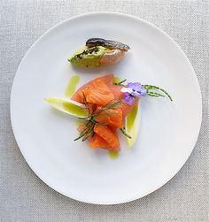 King salmon crudo with watermelon, endive, samphire   dill chive oil and skin chip stuffed wasabi avocado whip