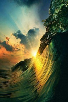 Waves in the sunset