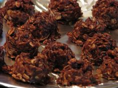 """THM- {Fudgy No-Bake Cookies - """"S""""} - Sheri Graham 1/4 cup butter or coconut oil  2 tablespoons cocoa  2 tablespoons almond milk, unsweetened  1/4 cup Truvia  1/4 cup defatted peanut flour  2 tablespoons water  dash sea salt  1/2 teaspoon vanilla  1 cup rolled oats OR use 1 cup coconut (shredded or chips) OR us 1/2 cup rolled oats and 1/2 cup coconut."""