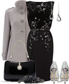 """New Year's Eve Party (Black and Silver) Contest"" by angkclaxton ❤ liked on Polyvore"