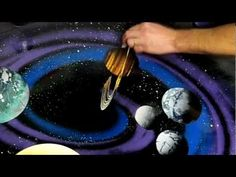 Spray Paint Art Secrets September 2013 galaxy,trees, mountains,planets,saturn,airbrush - YouTube