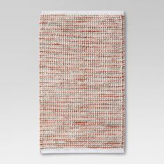 Chenille Stripe Bath Rug Coral - Threshold™ - image 1 of 2 Bathroom Rugs And Mats, Bath Rugs, Striped Rug, Crochet Stitches Patterns, Bath Linens, Coral Blue, Purple, Rugs Online, Handmade Design