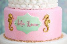 Cake Detail from a Mermaid Oasis Themed Birthday Party via Kara's Party Ideas | KarasPartyIdeas.com (9)