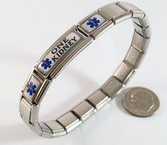 One Kidney Medical ID Alert Italian Charm Bracelet Blue Star Ailment Bracelets, http://www.amazon.com/dp/B00BI7M3ZO/ref=cm_sw_r_pi_dp_zpGprb0AHPP0V