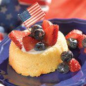 Red strawberries, blueberries and vanilla yogurt make these Patriotic Shortcakes super simple.