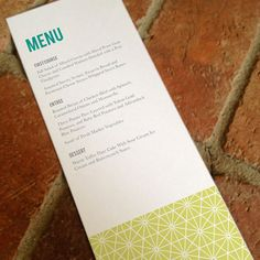 Reception Menu Card Printable Geometric Wedding by FiraPrintables