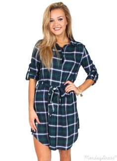 How Sweet It Is Green And Navy Plaid Dress | Monday Dress Boutique