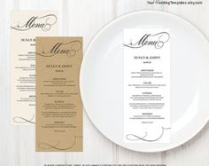 Printable Wedding Menu Template  Instant Download  Classic  X