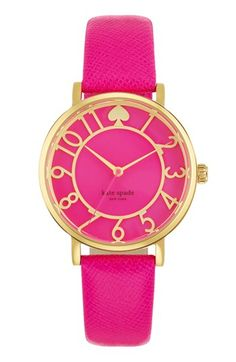 Love the fuchsia color! kate spade new york 'metro' round leather strap watch, 34mm available at #Nordstrom