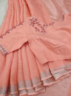 What's app for orders 9047090885 pure linen designer blouse Cotton Saree Blouse Designs, Saree Blouse Patterns, Designer Blouse Patterns, Fancy Blouse Designs, Linen Blouse, Skirt Patterns, Coat Patterns, Sewing Patterns, Woman Clothing