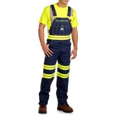 Liberty Men's 100% Cotton Rigid Denim Bib with Hi Vis Tape, Size: 42 x 32, Yellow