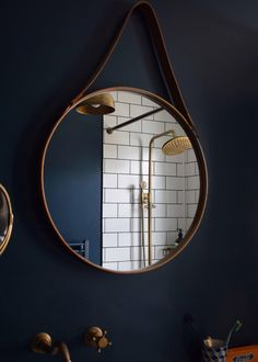 8 of the best round mirrors on the high street Hague blue metro tiles brass fittings bathroom Hague Blue Bathroom, Dark Blue Bathrooms, Blue Bathroom Tiles, Hague Blue Kitchen, Bathroom Taps, Farrow Ball, Boho Bathroom, Bathroom Ideas, Small Bathroom