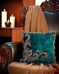 Rusty Turquoise / Teal /// Turquoise aqua blue Velvet decorative cushion with embroidery Crazy Quilting, Azul Pantone, Sofa Pillows, Velvet Pillows, Teal Pillows, Decorative Cushions, Blue Velvet, Soft Furnishings, Aqua Blue