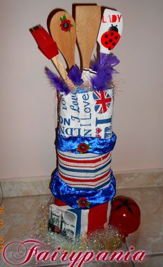 london cake with towels and thinks for kitchen