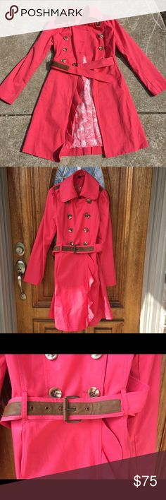 Fully-Lined Fit & Flare GUESS Ruffle Trench Coat Hot pink, fully-lined, fit & flare GUESS trench coat. So unbelievably cute. I would give anything for this to fit me!! Removable belt, signature GUESS buttons (none missing). Ruffles on the front overlay only. Beautiful pattern on the inner lining. Love Love LOVE THIS. Guess Jackets & Coats Trench Coats