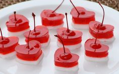 Jello shorts w/cherries....with or without booze ... would be a cute finger food for kids also