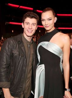 Shawn Mendes and Karlie Kloss at the 2016 American Music Awards