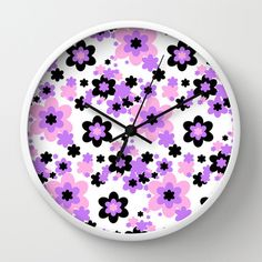 Pink, lilac purple, and black floral round wall clock for girl's shabby chic bedroom. Add matching duvet cover, pillows, rug, shower curtain, wallpaper border, and more #decampstudios