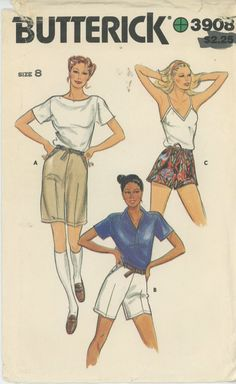 Bermuda Shorts and more Sewing Pattern Butterick 3908 Partially Cut Size 8 - Women