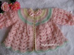 Magia do Crochet: Casacos em crochet para bebé - novas cores para modelos conhecidos