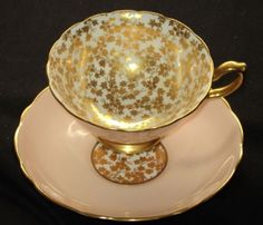 Hammersley GOLD CHINTZ Tea cup and saucer PEACHY PINK