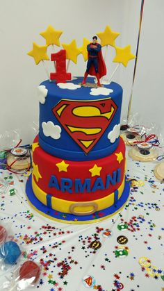 156 best Birthday Cake Photos photos by bondita Superman Birthday Party, 1st Birthday Party Themes, Baby Boy 1st Birthday, Cool Birthday Cakes, Superhero Party, Superman Cakes, Superman Stuff, Bolo Super Man, Snow White Birthday