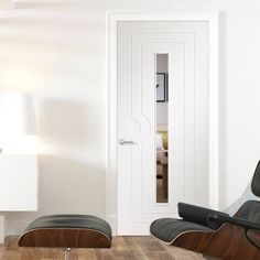 Simpli Door Set, Potenza White Flush Door with Clear Safe Glass - Prefinished Safe Glass, Clear Glass, Flush Doors, Contemporary Doors, Architrave, Door Sets, Interior Modern, Joinery, Polished Chrome
