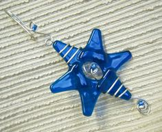 Star Sun Catcher / Fused Glass Star / Rainbow Colors / by cyvonneh