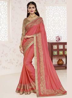 Wedding Wear Peach Gold Designer Sarees