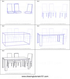 How to Draw Dining Table with Chairs printable step by step drawing sheet : DrawingTutorials101.com