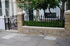 Metal Fences Front Garden metal gates rails london victorian mosaic tile Source: website heavy wrought iron metal garden fencing steel e. Victorian Front Garden, Victorian Terrace, Victorian House, Front Yard Patio, Front Fence, Low Fence, Fence Gate, Fence Panels, Farm Fence